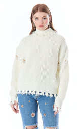 DISTRESSED TURTLENECK SWEATER