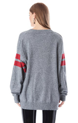 HOOP SLEEVE V-NECK OVERSIZED SWEATER