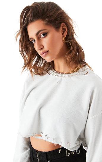 PIN NECK CROP SWEATSHIRT