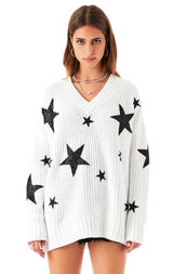 V-NECK MIXED STAR PATCH SWEATER