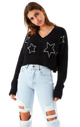 CROP V-NECK RHINESTONE OUTLINE STAR SWEATER