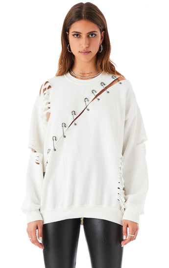 RIPPED DIAGONAL SAFETY PIN SWEATSHIRT
