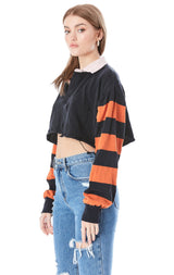 CROP RUGBY SHIRT WITH STRIPED CONTRAST SLEEVES