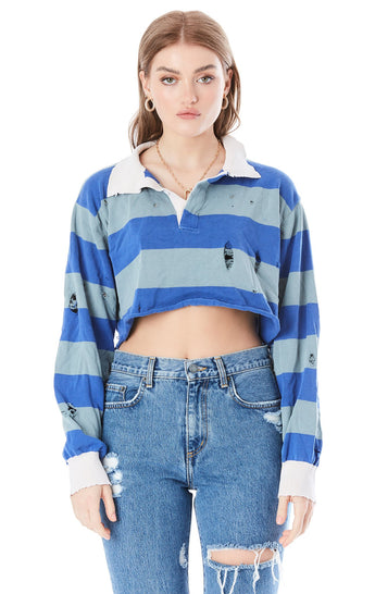 CROP RUGBY STRIPE STONEWASH SHIRT