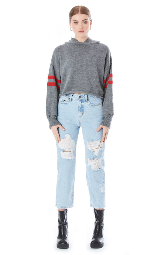 CROP HOODED HOOP SLEEVE SWEATER