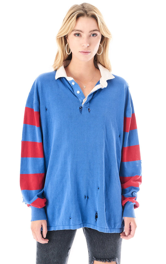 RUGBY SHIRT WITH STRIPED CONTRAST SLEEVES