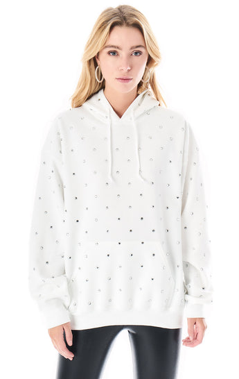 OVERSIZED RHINESTONE HOODED SWEATSHIRT