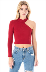 CUT OUT SHOULDER LONG SLEEVE SWEATER