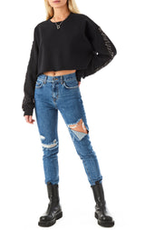 CROP PIN SLEEVE SWEATSHIRT