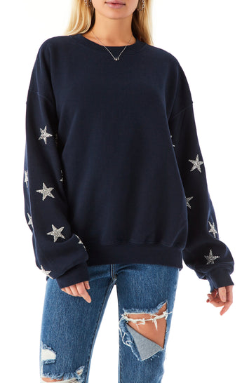 SILVER STAR PATCH CLUSTER SWEATSHIRT