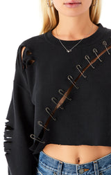 CROP DIAGONAL SAFETY PIN SWEATSHIRT