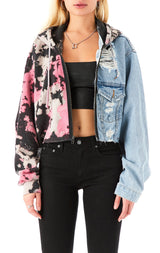 SPLICED CLOUD TIE DYE CROP DENIM JACKET