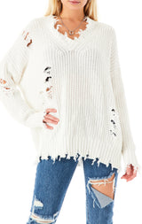 V-NECK RIPPED CHUNKY SWEATER