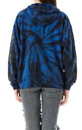 SPIRAL TIE DYE BLACK STAR PATCH ZIP UP SWEATSHIRT
