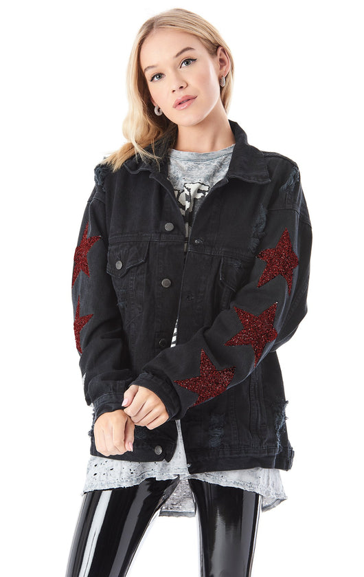 AUDREY RED STAR PATCH DENIM JACKET