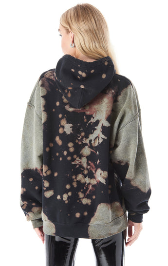 BLACK BLEACH DYE HOODED SWEATSHIRT
