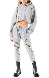 OVERSIZED RIPPED CROP HOODIE