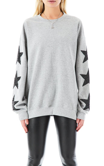 BLACK STAR PATCH PULLOVER SWEATSHIRT