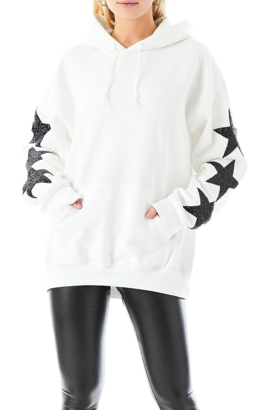 OVERSIZED BLACK STAR PATCH HOODIE