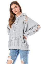 STONEWASHED HOODED SWEATSHIRT