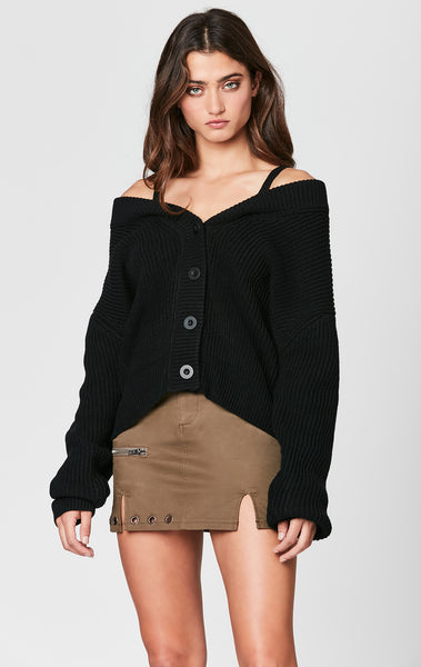 OFF THE SHOULDER CARDIGAN WITH STRAPS