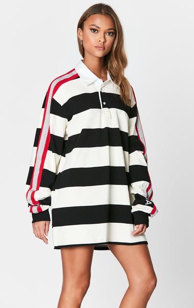 OVERSIZED STRIPED RUGBY SHIRT WITH EMBROIDERY