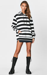 OVERSIZED STRIPED HOODIE FLEECE