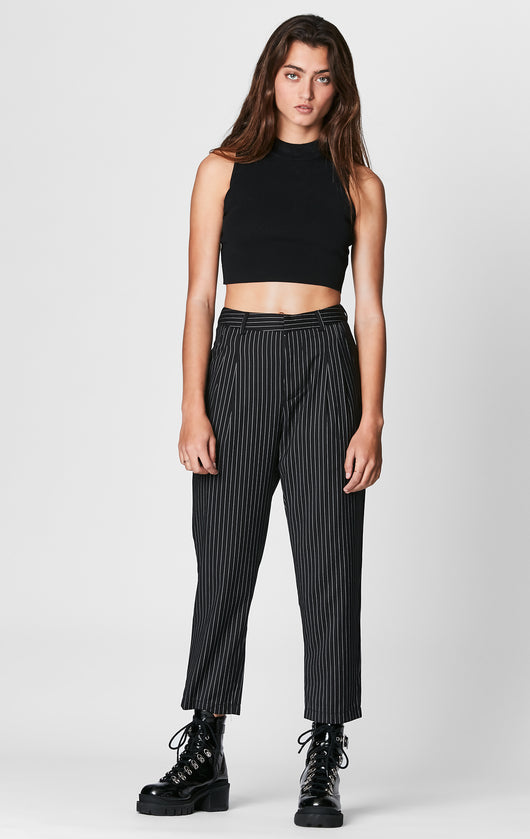 SEEK PINSTRIPE CROP TROUSERS