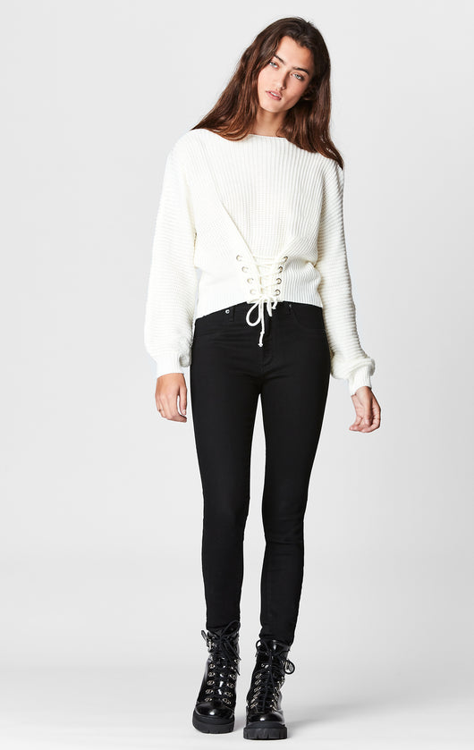 SEEK LACE UP WAIST SWEATER