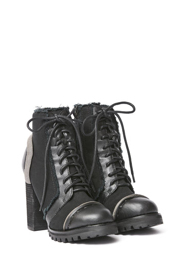JEFFREY CAMPBELL LEGION DEC LACE UP HEELED ANKLE BOOT