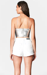 MILLAU METALLIC CUTOUT CROP TOP