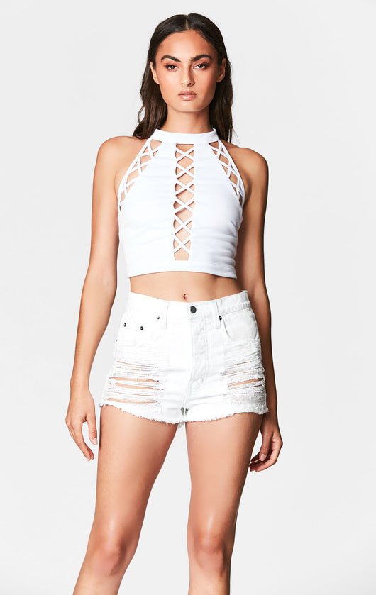 MILLAU HIGH NECK LATTICE CUTOUT CROP TOP