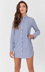 Carmar Denim: LONG STRIPE MENSWEAR SHIRT - WOVEN TOP