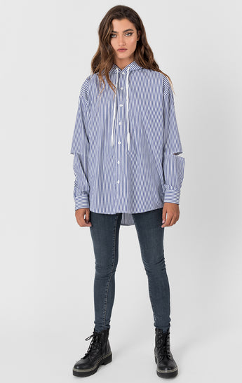 Carmar Denim: HOODED STRIPE SHIRT WITH SIDE ZIP AND ELBOW CUTOUTS - WOVEN TOP