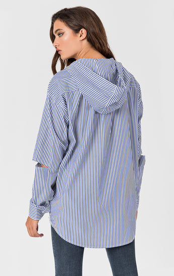 HOODED STRIPE SHIRT WITH SIDE ZIP AND ELBOW CUTOUTS