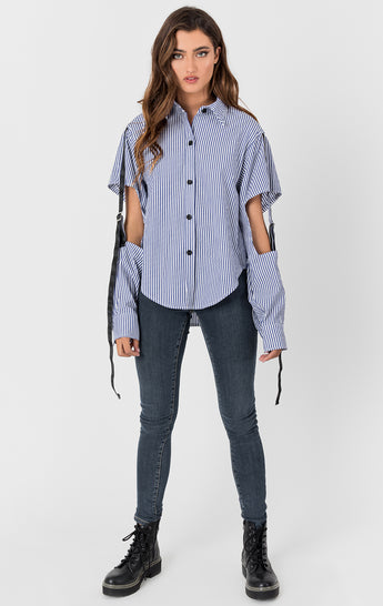MENSWEAR SHIRT WITH SLEEVE CUTOUTS AND TAPE