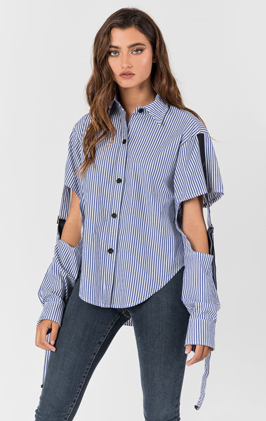 Carmar Denim: MENSWEAR SHIRT WITH SLEEVE CUTOUTS AND TAPE - WOVEN TOP
