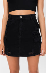 Carmar Denim: CARGO SKIRT WITH STONEWASH AND GRINDING - SKIRTS