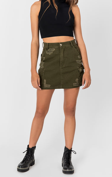 OD CARGO SKIRT WITH STONEWASH AND GRINDING