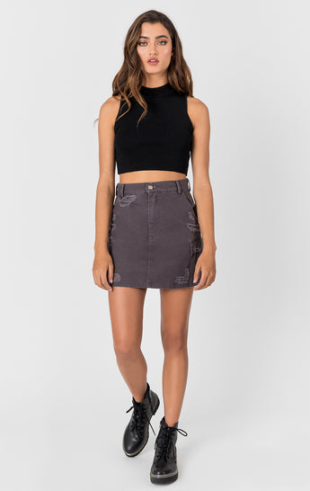 Carmar Denim: CARGO SKIRT WITH STONEWASH AND GRINDING - IMPORT SKIRT