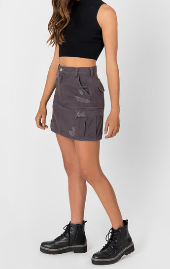 CARGO SKIRT WITH STONEWASH AND GRINDING