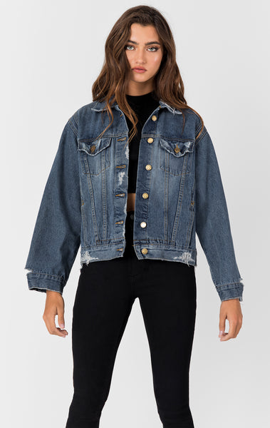 Carmar Denim: CORVUS GRIFFITH GRINDED DENIM JACKET - DENIM JACKETS