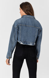 Carmar Denim: CARINA OLIVIER CROPPED DENIM JACKET - DENIM JACKET