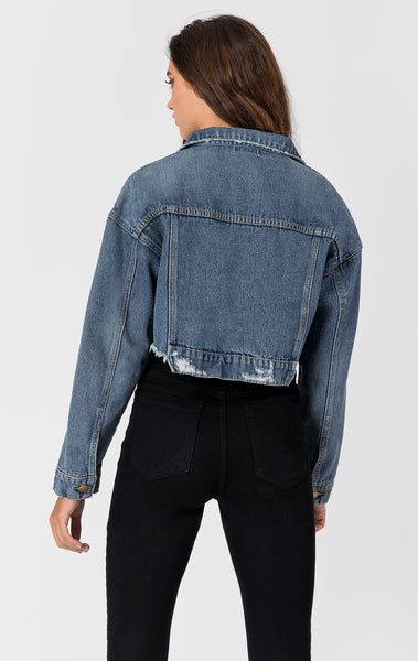 CARINA OLIVIER CROPPED DENIM JACKET