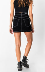 Carmar Denim: OD BLACK LAUNCE BUTTON FRONT SKIRT - SKIRTS