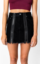 Carmar Denim: BLACK COLIN DOUBLE ZIP FRONT SKIRT - DENIM SKIRT