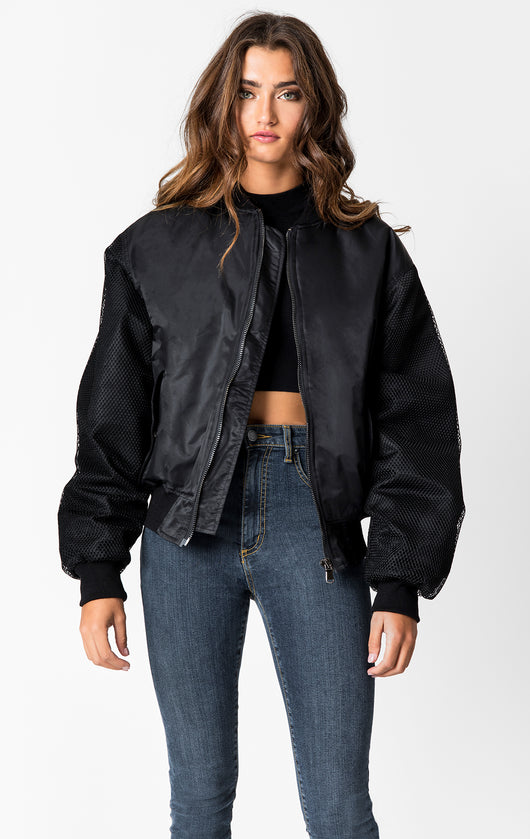 Carmar Denim: MESH SLEEVE BOMBER JACKET - JACKETS