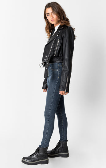 BLACK LEATHER MOTO JACKET WITH BELT