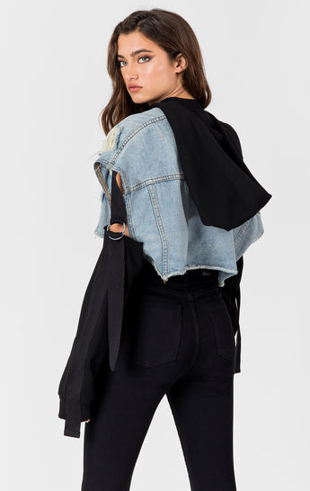 LYRA NICHOLAS CROPPED SWEATSHIRT DENIM JACKET