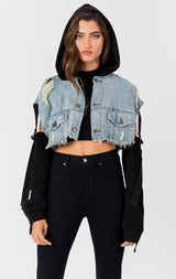 Carmar Denim: LYRA NICHOLAS CROPPED SWEATSHIRT DENIM JACKET - DENIM JACKETS